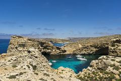 Malta, Comino island, panoramic view of the cliffs and the sea. Comino island, panoramic view of the cliffs and the sea Stock Photos