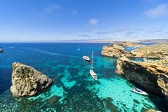 Malta, Comino island, panoramic view of the cliffs and the sea. Comino island, panoramic view of the cliffs and the sea Royalty Free Stock Photo