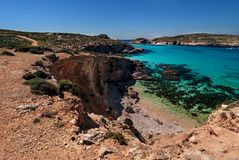 Comino landscape. Landscape of the beach of Comino island Royalty Free Stock Image