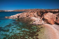 Comino landscape. Landscape of the beach of Comino island Royalty Free Stock Photo