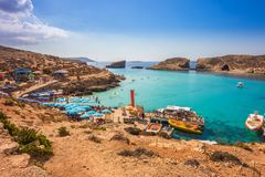Comino, Malta - Tourists crowd at Blue Lagoon Royalty Free Stock Image
