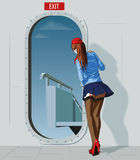 Comissária de bordo na porta ilustração royalty free