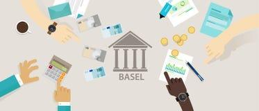 Comité d'Accord de Bâle de cadre de réglementation international de contrôle bancaire pour des banques illustration stock