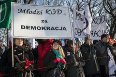 Comitê polonês para a defesa da demonstração da democracia em W imagens de stock royalty free
