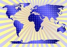 Comitati solari globalmente (priorità bassa gialla) Fotografie Stock