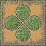 Comitato antico del mosaico con clower Fotografia Stock