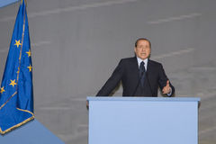 Comizio Berlusconi. Silvio Berlusconi during inauguration speech Passante Mestre Royalty Free Stock Photography