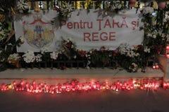 Commémoration du Roi Mihai à Royal Palace à Bucarest, Roumanie Image libre de droits