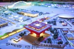 Commémoration Exhitiion de l'intérieur 2010 de Changhaï Chine d'expo, le modèle des secteurs d'expo Photographie stock libre de droits