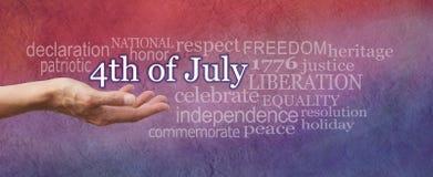 Commémorez le 4ème du nuage de mot de juillet Images stock