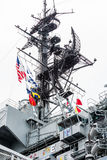 Comm Equipment on Aircraft Carrier Royalty Free Stock Photo