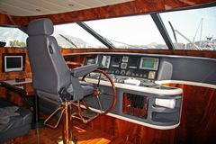 Command bridge. At the small ship Royalty Free Stock Photography