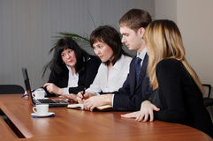 Command of businessmen stock images
