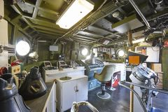 Command center interior on navy warship. Army military equipment Royalty Free Stock Image