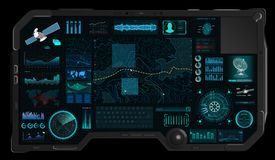 Command Center Screen in HUD style stock illustration