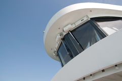 Command deck. From a cruise ship against the blue sky - view to captain's bridge Stock Photo