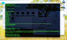 Command line interface on the desktop. Concept of the programmer\'s work. Information line flow. Command line interface on the desktop, terminal command, cli stock photography