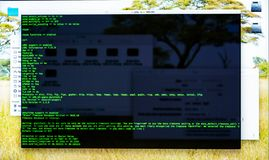 Command line interface on the desktop, terminal command, cli royalty free stock photography