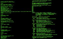 Command line interface, front view, terminal command, cli. UNIX bash shell. Command line interface, front view, terminal command, cli royalty free stock photos