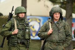 During Command post exercises with 98-th Guards Airborne Division in Kostroma region. Royalty Free Stock Images