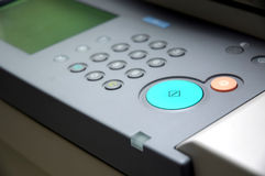 Command table. Button for on/off and command table for office copier machine royalty free stock photo