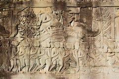 Commandant antique d'armée de Khmer sur l'éléphant Photo libre de droits