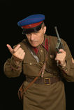 Commandant de colonel avec une arme à feu Photo stock
