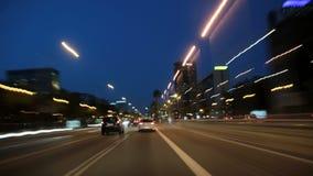 Commande Cameracar 3 de ville de nuit de Barcelone banque de vidéos