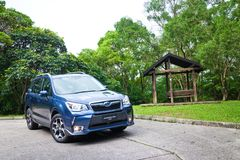 Commande 2014 d'essai d'option de forestier de Subaru le 12 mai 2014 en Hong Kong Photo stock