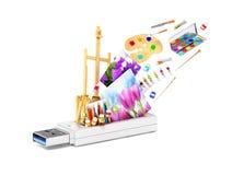 Commande d'instantané d'USB avec le chevalet, les peintures et les volets illustration libre de droits