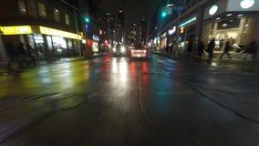 commande de point de vue de nuit de 4K UltraHD (POV) dans la ville principale banque de vidéos