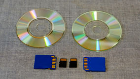 Commande et mémoire instantanées parmi le CD Photographie stock libre de droits