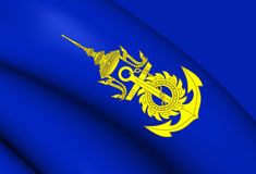 Commander-in-Chief of Royal Thai Navy Flag. Close Up Royalty Free Stock Photography