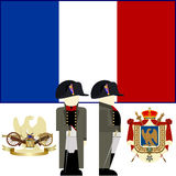 The commander of the French army in 1812. Napoleon. The coat of arms and flag of France during the reign of Emperor Napoleon. The illustration on a white Stock Photo