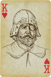 Commander and General. Playing card with the drawn figure: Commander and General of the medieval troops. Description: drawing consists of at least of two layers Royalty Free Stock Image