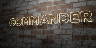 COMMANDER - Glowing Neon Sign on stonework wall - 3D rendered royalty free stock illustration. Can be used for online banner ads and direct mailers Royalty Free Stock Photography