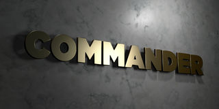 Commander - Gold text on black background - 3D rendered royalty free stock picture. This image can be used for an online website banner ad or a print postcard Royalty Free Stock Images