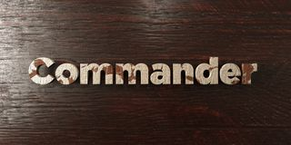 Commander - grungy wooden headline on Maple  - 3D rendered royalty free stock image. This image can be used for an online website banner ad or a print postcard Stock Image