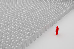 Commander. One red man in front of a crowd of plain people, 3d rendering Royalty Free Stock Image