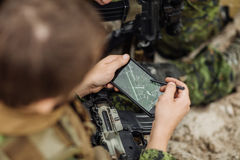 Commander of the Rangers paves the route on an electronic satnav Stock Image