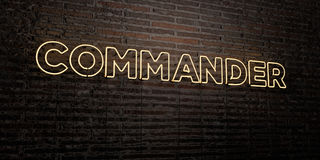 COMMANDER -Realistic Neon Sign on Brick Wall background - 3D rendered royalty free stock image. Can be used for online banner ads and direct mailers Royalty Free Stock Image