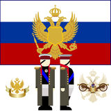 The commander of the Russian army in 1812. Kutuzov. The coat of arms and the flag of Russia. Chief of the Russian army Kutuzov. The illustration on a white Stock Images