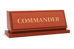Commander title. Commander job title on nameplate Stock Photo
