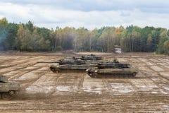Commandes allemandes de chars de bataille sur le champ de bataille Photo libre de droits