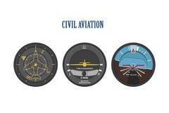 Commandez les indicateurs des avions et des hélicoptères L'instrument p Images stock