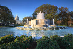 US Capitol and Fountain in Washington DC Stock Photo