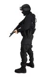 Commando. Special force soldier in black tactical suit Stock Photos