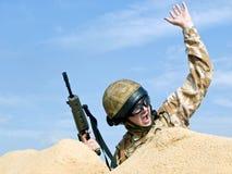 Commando in action. British Royal Commando in action Royalty Free Stock Photos