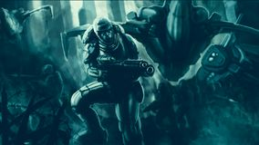 Commando in armor suit with large rifle fighting. Science fiction illustration. Special forces. Original character the soldier of the future. Freehand digital royalty free illustration