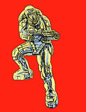 Commando in armor suit with large rifle. Vector illustration. royalty free stock images